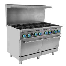 "48"" Commercial Gas Range 8 Top Burner with 2 Oven - 306,000 BTU"