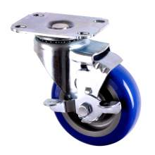 """3-1/2"""" Light-Duty Swivel With Brake Plate Caster 250 Lb Load Rating"""