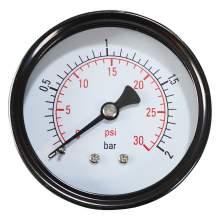 """2-1/2"""" 0-30PSI Pressure Gauge 1/4""""NPT Back Mount"""