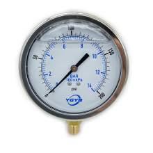 "4 Inch Liquid Pressure Gauge Bottom Connection 1/4""NPT 0-200PSI/BAR"