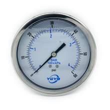 "4 Inch Liquid Pressure Gauge Back Connection 1/4""NPT 0-60PSI/BAR"