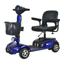 Folding Mobility Scooter With 4 Wheels, Long Drive Range In Blue