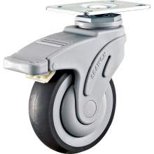 """3"""" Top Plate Swivel W/Brake Medical TPR Caster(Round Tread)195 LBS"""