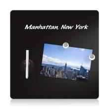 "Magnetic Glass Dry Erase Board - 16""x16"" - Black"