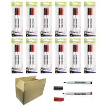 Whiteboard Marker Pen Bullet Tip 2 Colors(Black,Red) Set of 24