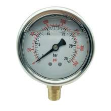 P1 2.5 Inch Pressure Gauge 1/4 Npt 0-350Psi/0-25Bar Bottom Entry SS304