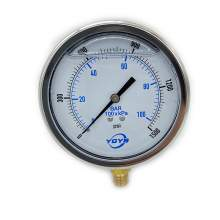 "4 Inch Liquid Pressure Gauge Bottom Connection 1/4""NPT 0-1500PSI/BAR"