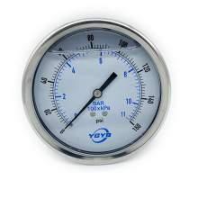 "4 Inch Liquid Pressure Gauge Back Connection 1/4""NPT 0-160PSI/BAR"