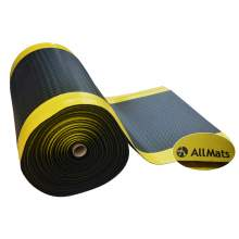 "Anti-fatigue Mat Diamond Plate 3 ft x60 ft Thick 1/2"" Black Yellow"