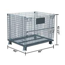 "Folding Wire Container 48 x 40 x 42 1/2"" 4000 Lb Capacity No Casters"