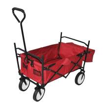 Collapsible Folding Utility Wagon with Side Bags Red
