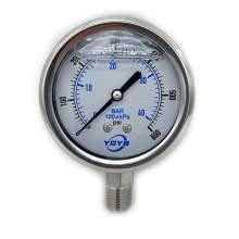 "2.5 Inch All SS Pressure Gauge Bottom 1/4""NPT 0-600PSI/BAR"
