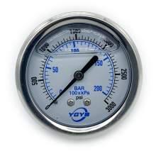"2.5 Inch Liquid Pressure Gauge Back Connection 1/4""NPT 0-3000PSI/BAR"