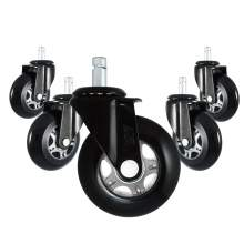 """3"""" Office Chair Caster Extra Heavy Duty PU Wheels Noise-Free 5 Pack"""
