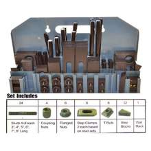 """Bolton Tools 5801 58 pcs Table-Slot 7/16"""" Stud-Size 3/8""""-16 Deluxe Steel Clamping Kit #1"""