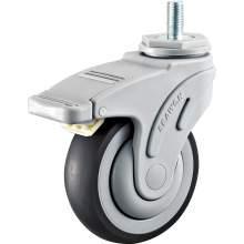 "4"" Threaded Stem Swivel W/Brake Medical TPR Caster(Round Tread)265 LBS"