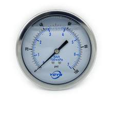 "4 Inch Liquid Pressure Gauge Back Connection 1/4""NPT 0-100PSI/BAR"