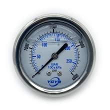 "2.5 Inch Liquid Pressure Gauge Back Connection 1/4""NPT 0-4000PSI/BAR"
