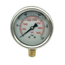 P1 2.5 Inch Pressure Gauge 1/4 Npt 0-3500Psi/0-250Bar Bottom Entry SS304