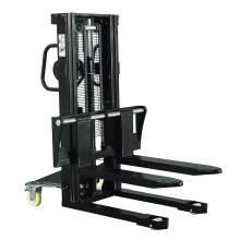 "Hydraulic Stacker Lift Truck 3300 LB. Cap. 98"" Lift with Adj. Forks"