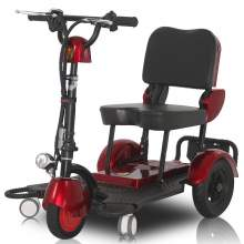 Folding Scooter, Lightweight Mobility Scooter With Three Wheels, Red
