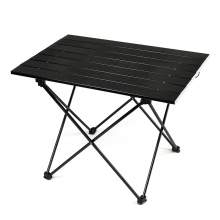 Ultralight Aluminum Folding Outdoor Camping Table 3 Size Middle Black