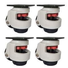 "4pc 100F Retractable Leveling Machine Caster 2-4/5"" Plate1650lbs Nylon"