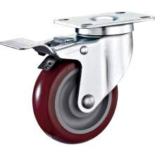 """5"""" Top Plate Swivel With Brake PU Caster(Annular Bearing) 309LBS"""