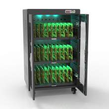 30 Bay UV Laptop Charging Cart Chrome Surface