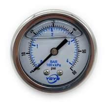 "2.0 Inch Liquid Pressure Gauge Back Connection 1/4""NPT 0-60PSI/BAR"