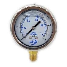 """2.5 Inch Filled Pressure Gauge Bottom Connection 1/4""""NPT 0-15PSI/BAR"""