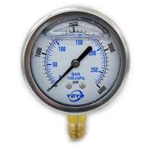 "2.5 Inch Liquid Pressure Gauge Bottom Connection 1/4""NPT 0-4000PSI/BAR"