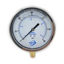 "4 Inch Liquid Pressure Gauge Bottom Connection 1/4""NPT 0-60PSI/BAR"