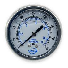"2.5 Inch All SS Pressure Gauge Back 1/4""NPT 0-160PSI/BAR"