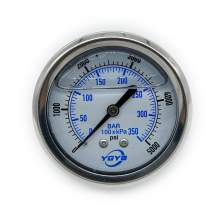 "2.5 Inch All SS Pressure Gauge Back 1/4""NPT 0-5000PSI/BAR"