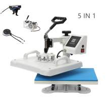 Combo 5 IN 1 Heat Press Machine for T-Shirts Cap Hat Mug Plate