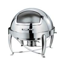 6.5 QT Stainless Steel Round Chafer W/Hinged Glass Dome Cover