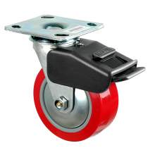 """5"""" Heavy-Duty Swivel With Total Brake Plate Caster 650 Lb Load Rating"""