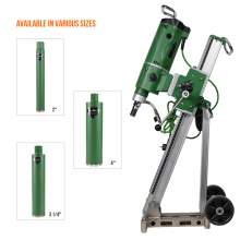Concrete coring motor 3300W & drill rig with 3x wet core drill bits