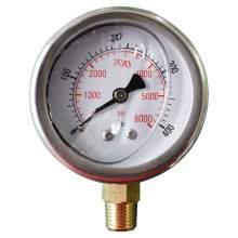 """2-1/2In 0 to 6000PSI Liquid Filled Pressure Gauge 1/4""""NPT Bottom Mount"""