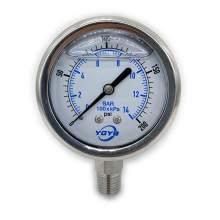 "2.5 Inch All SS Pressure Gauge Bottom 1/4""NPT 0-200PSI/BAR"