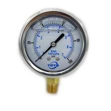 """2.5 Inch Filled Pressure Gauge Bottom Connection 1/4""""NPT 0-100PSI/BAR"""
