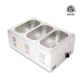 """Electric Countertop Food Warmer With 3 x 1/3 Size 6"""" Deep Steam Pans"""