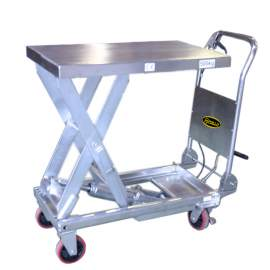 """Stainless Manual Single Scissor Lift Table 1100lbs 35.4"""" Lifting"""
