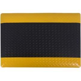 "Anti-fatigue Mat Diamond Plate 3 ft x5 ft Thick 1/2"" Black Yellow"