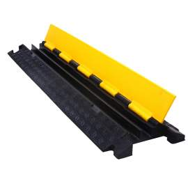 """2 Channel Rubber Cable Protector  36"""" L x 10"""" W  x 2"""" H Yellow Lid"""