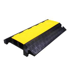 """2 Channel Rubber Big Cable Protector 37""""L x 22""""W x  4""""H Yellow Black"""