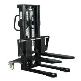 "Hydraulic Stacker Lift Truck 3300 LB. Cap. 118"" Lift with Adj. Forks"