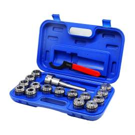 """R8 Shank ER40 Chuck with 15 pc Collet Set, 1/8"""" - 1"""" by 16th"""