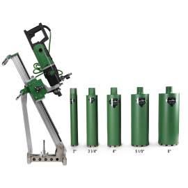 Concretet Core Drill Motor 2200W Drill rig 5x Core Bits & Anchor Set